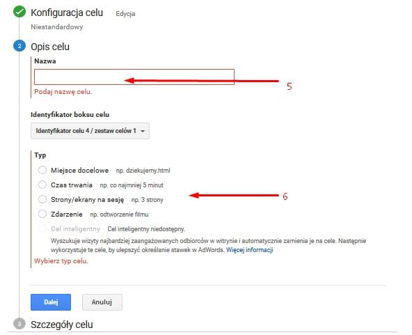konfiguracja celu w google analytics