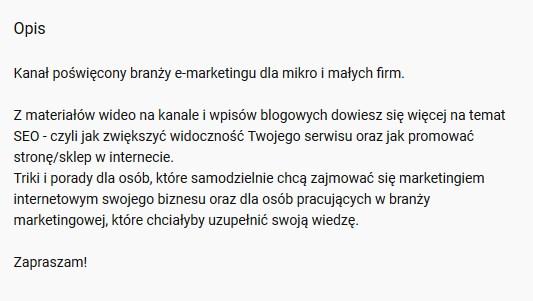opis kanału Youtube | jakubpaszkowski.pl