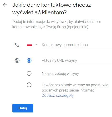Jak stworzyć wizytówkę Google Maps - telefon i url firmy